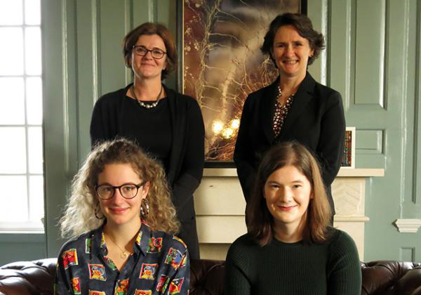 (Back row, L-R) Professor Irene Tracey, Warden; Professor Jenny Payne, Sub-Warden | (Front row, L-R)  India Morris, MCR President; and Lucy Buxton, JCR President